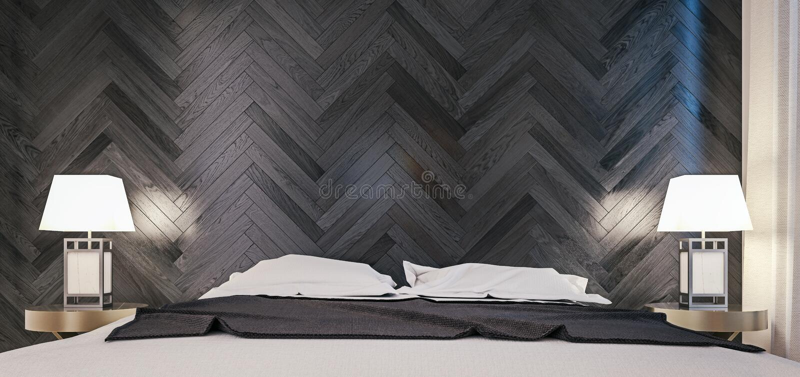 卧室现代室内设计,关闭床和黑暗的橡木织地不很细墙壁射击  库存图片