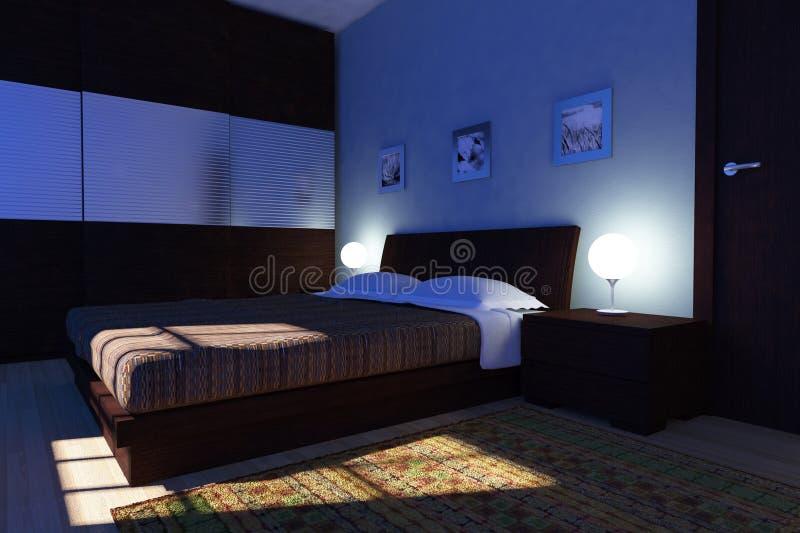 卧室现代晚上 库存例证