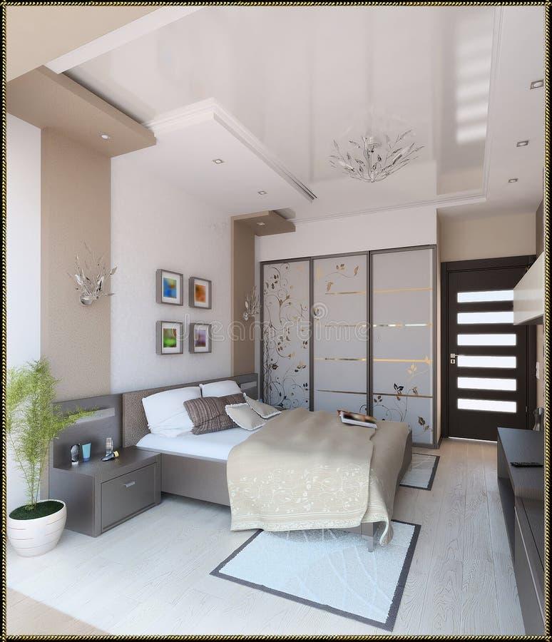 卧室现代样式室内设计, 3D回报 库存照片