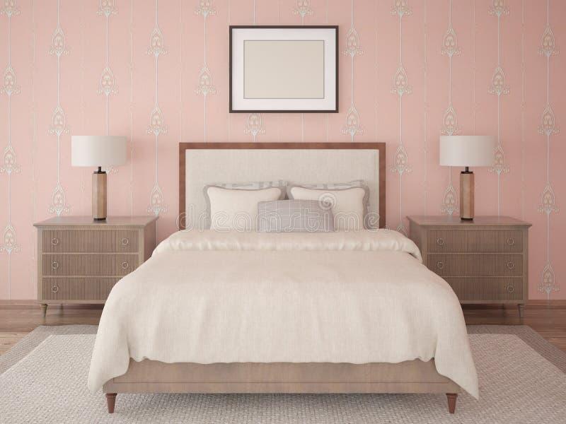 卧室的嘲笑经典样式的 向量例证
