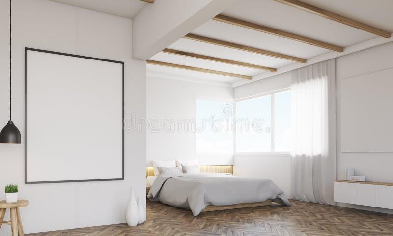 卧室的角落有两个海报和窗口的 向量例证