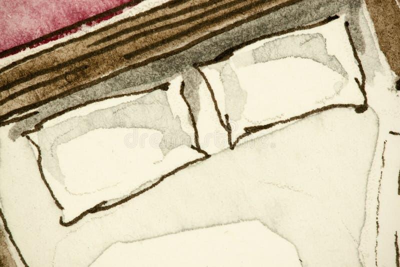 卧室的水彩徒手画的墨水有吸引力的传统速写的图表表示法把枕在,显示私有主卧室 皇族释放例证