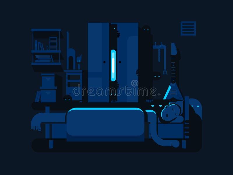 卧室神秘的平的设计 库存例证
