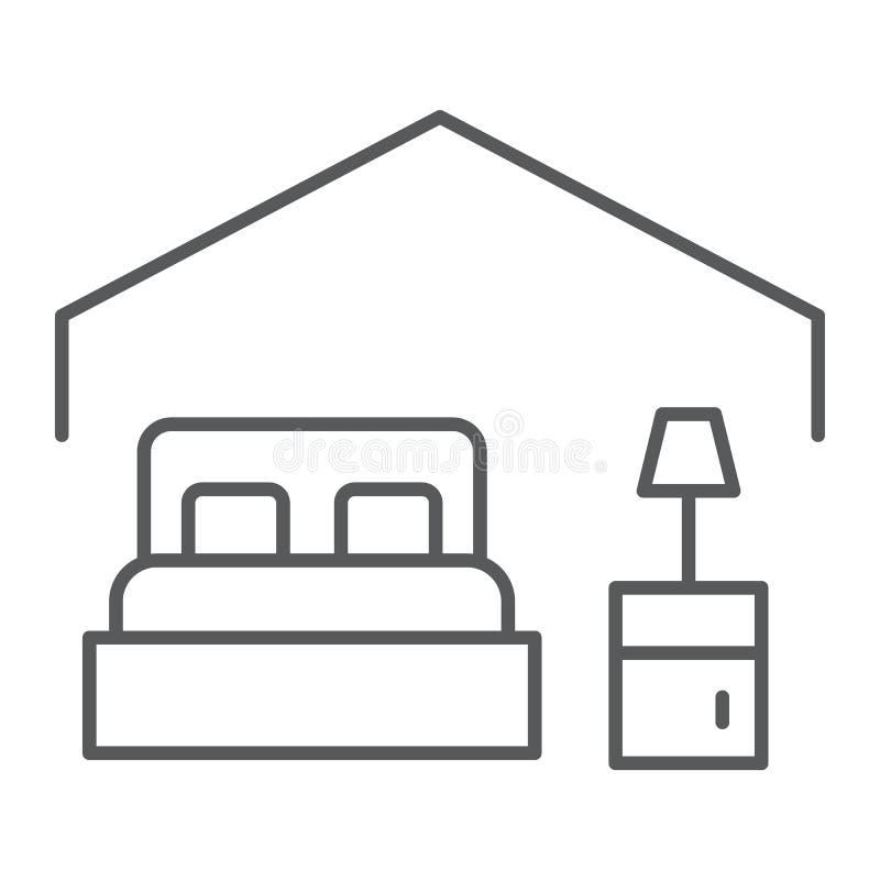 卧室稀薄的线象,旅馆和睡眠,床标志,向量图形,在白色背景的一个线性样式 向量例证