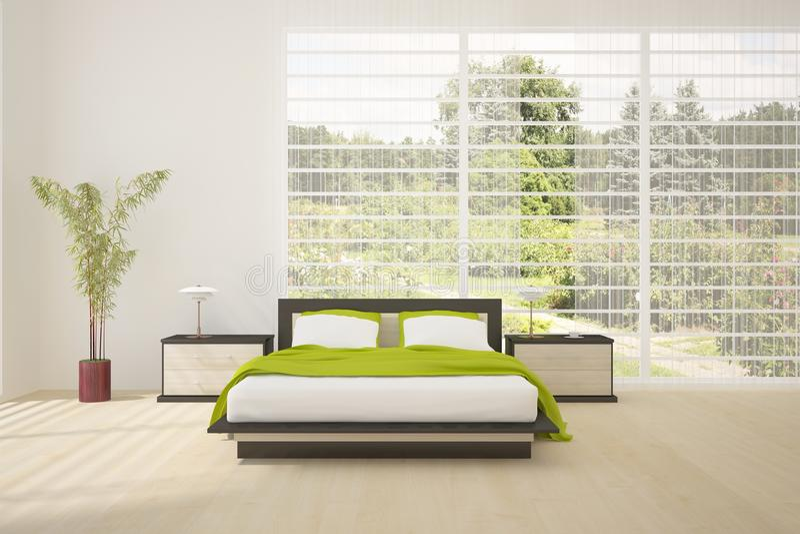 卧室色的家具内部现代 免版税库存图片