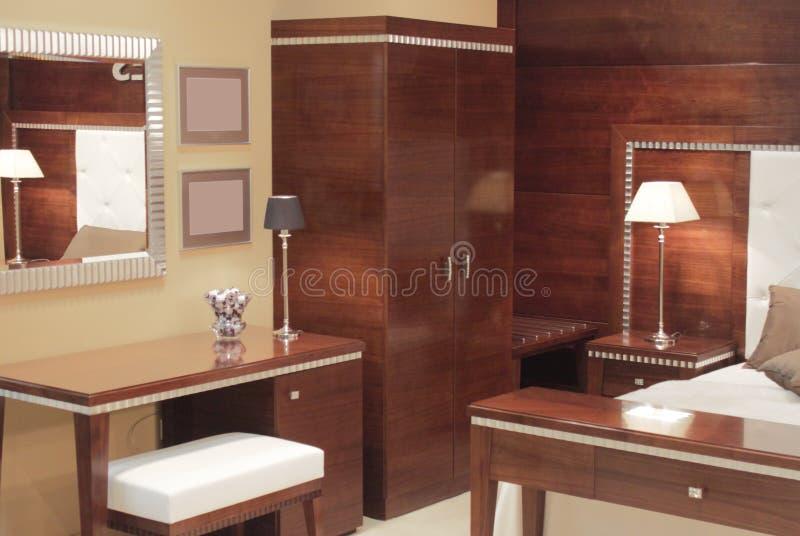 卧室设计内部现代 免版税库存图片