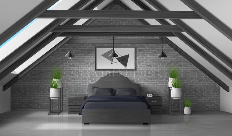 卧室顶楼空的内部现代家庭有双重斜坡屋顶的房屋 向量例证