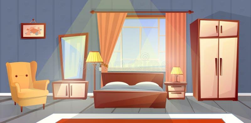 卧室,客厅家具传染媒介内部  库存例证