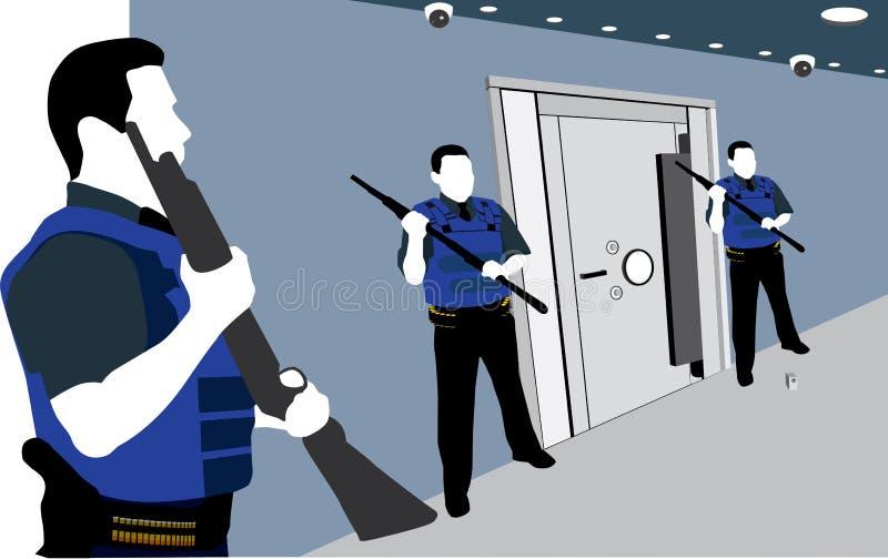 卫兵和安全箱子 向量例证