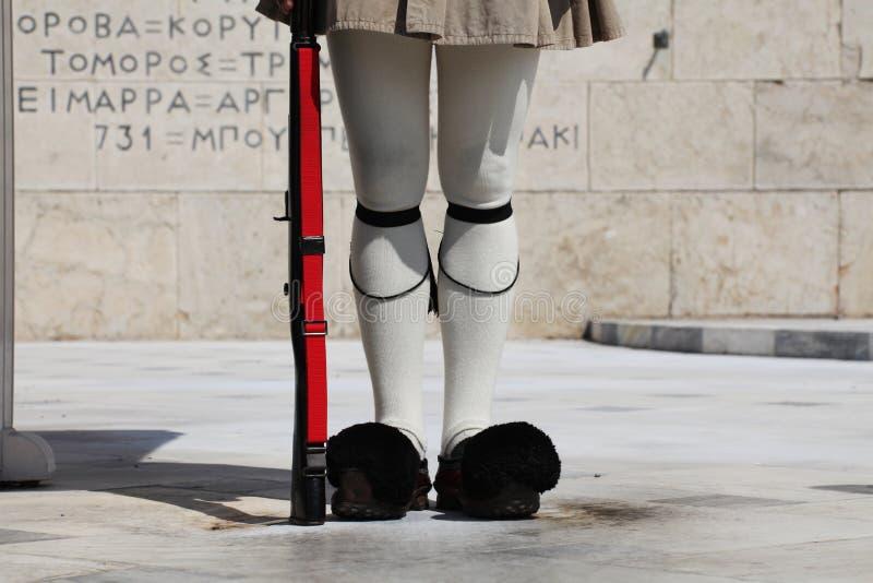 卫兵在雅典,希腊 库存图片