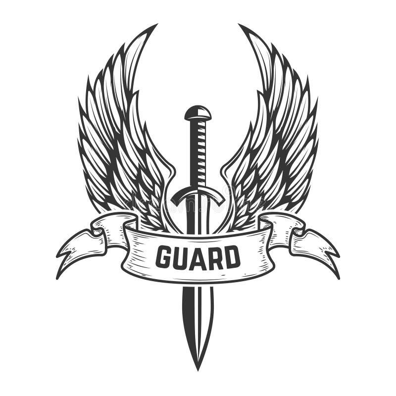 卫兵 有翼的中世纪剑 设计商标的,标签,象征,标志,徽章元素 库存例证
