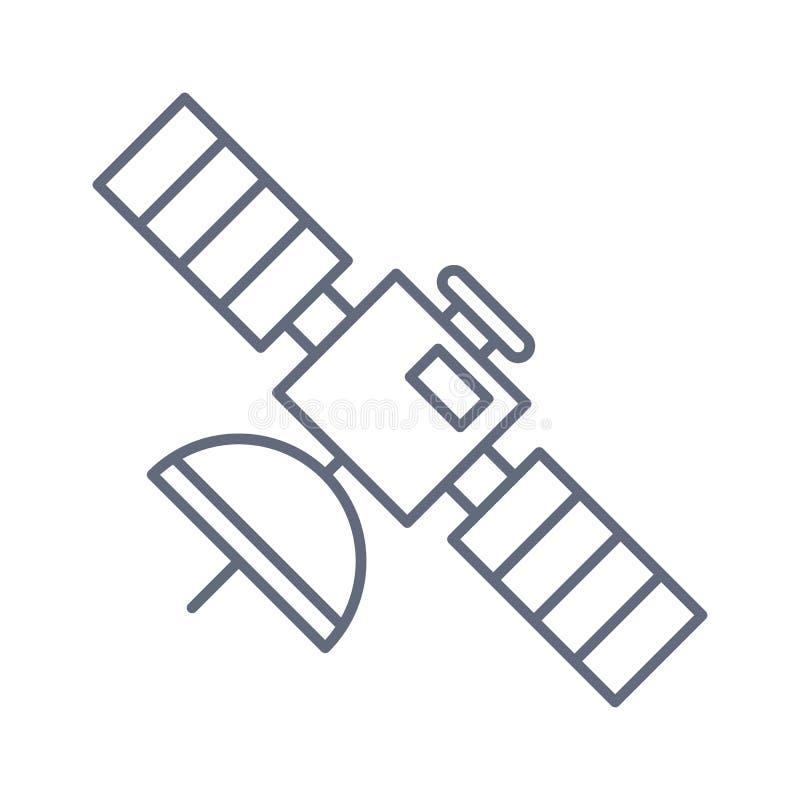 卫星坚实象、航海和通信,向量图形,在白色背景的填充模式 皇族释放例证