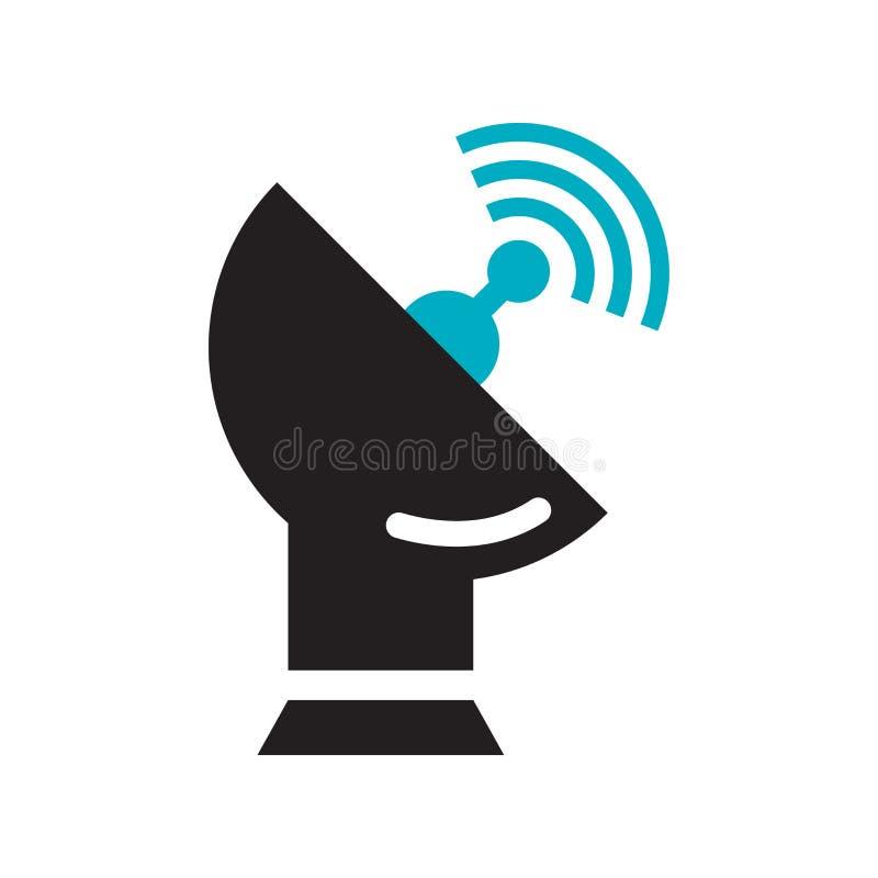 卫星报天线象在白色背景和标志隔绝的传染媒介标志,卫星报天线商标概念 皇族释放例证