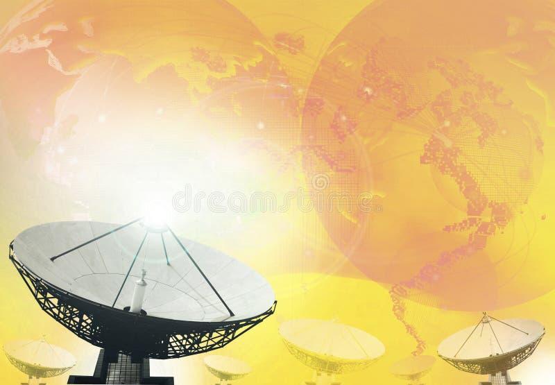 卫星盘广播技术背景 免版税库存照片
