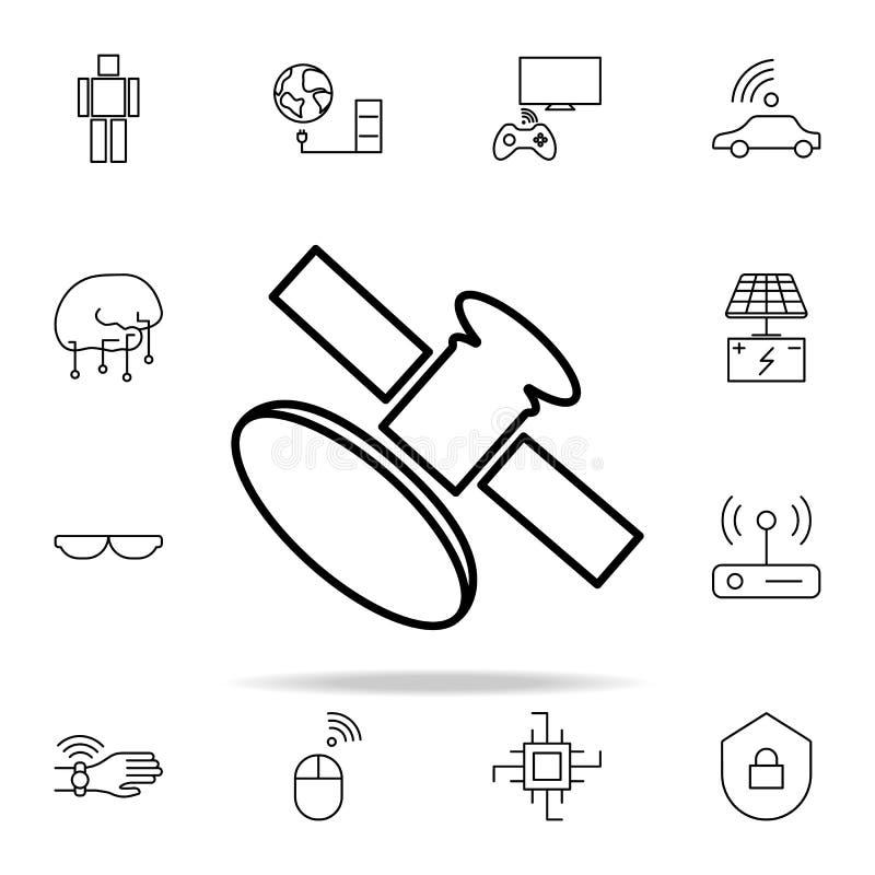 卫星象 新网和机动性的技术象全集 库存例证