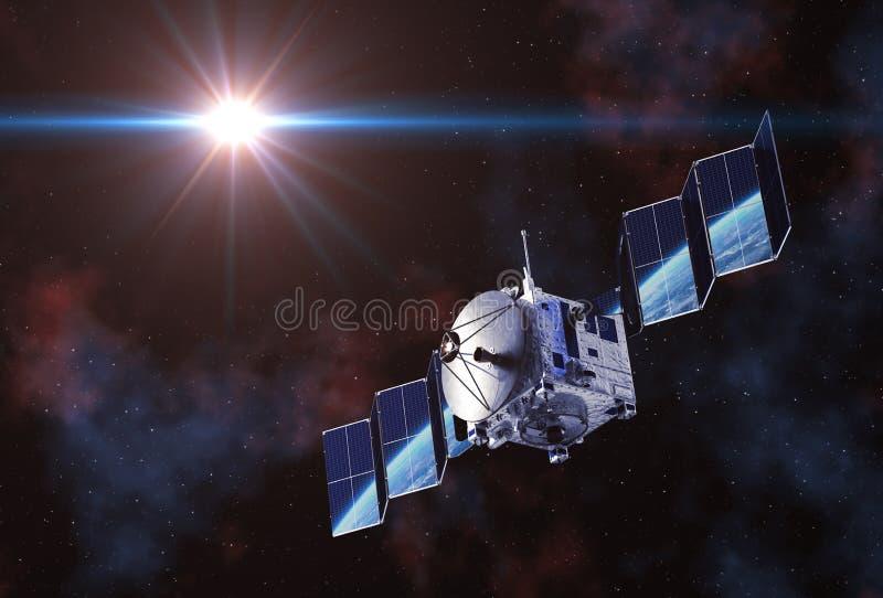 卫星部署在他们反映的太阳电池板和地球 向量例证