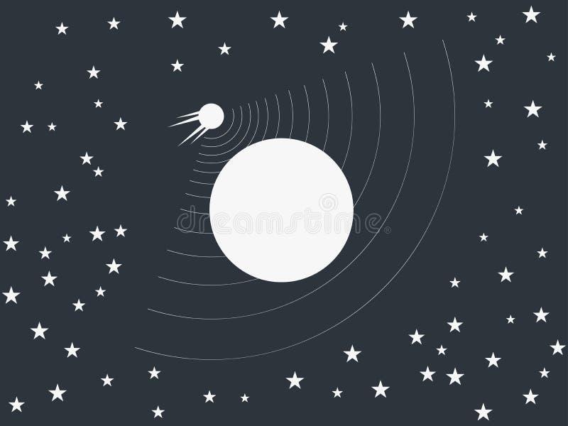 卫星围绕在空间的一个行星 向量 皇族释放例证