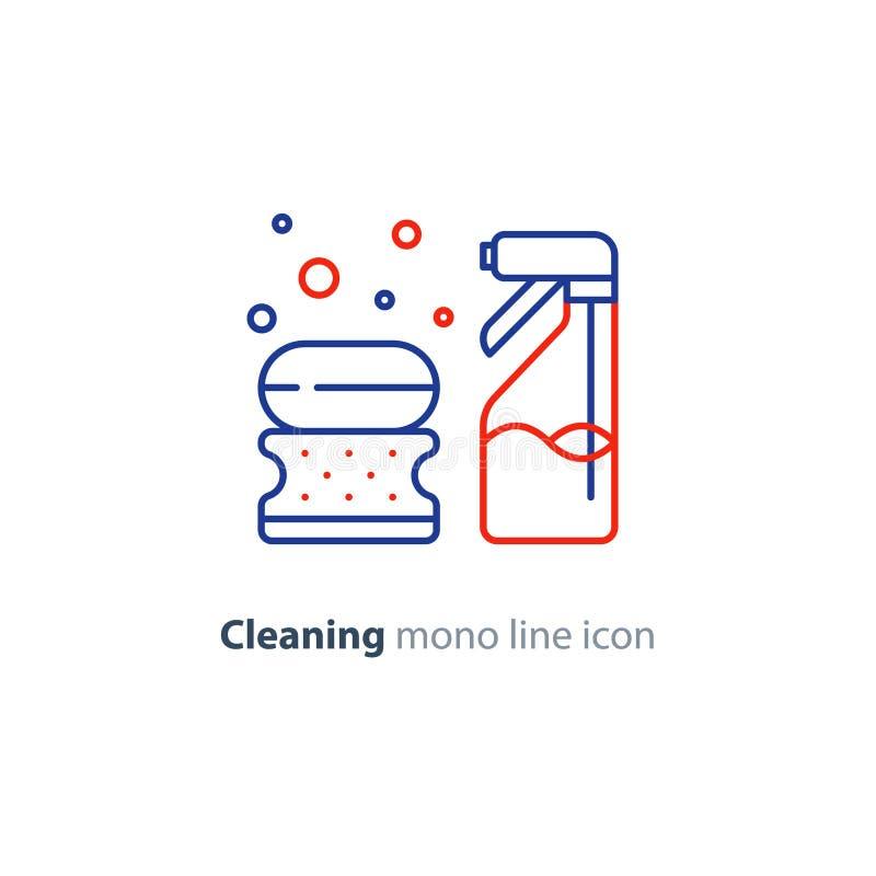 卫生对象设置了,清洗设备项目和服务,线象 向量例证