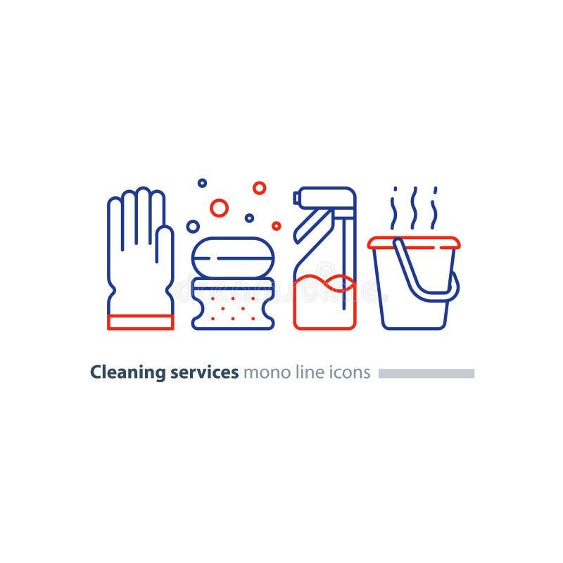 卫生对象设置了,清洗设备项目和服务,线象 皇族释放例证