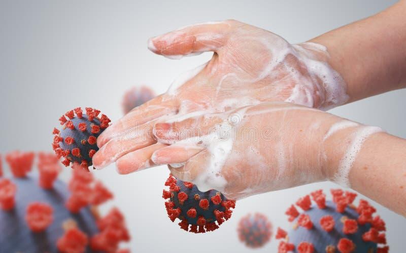 卫生概念 女人正在洗手 许多病毒 免版税库存图片