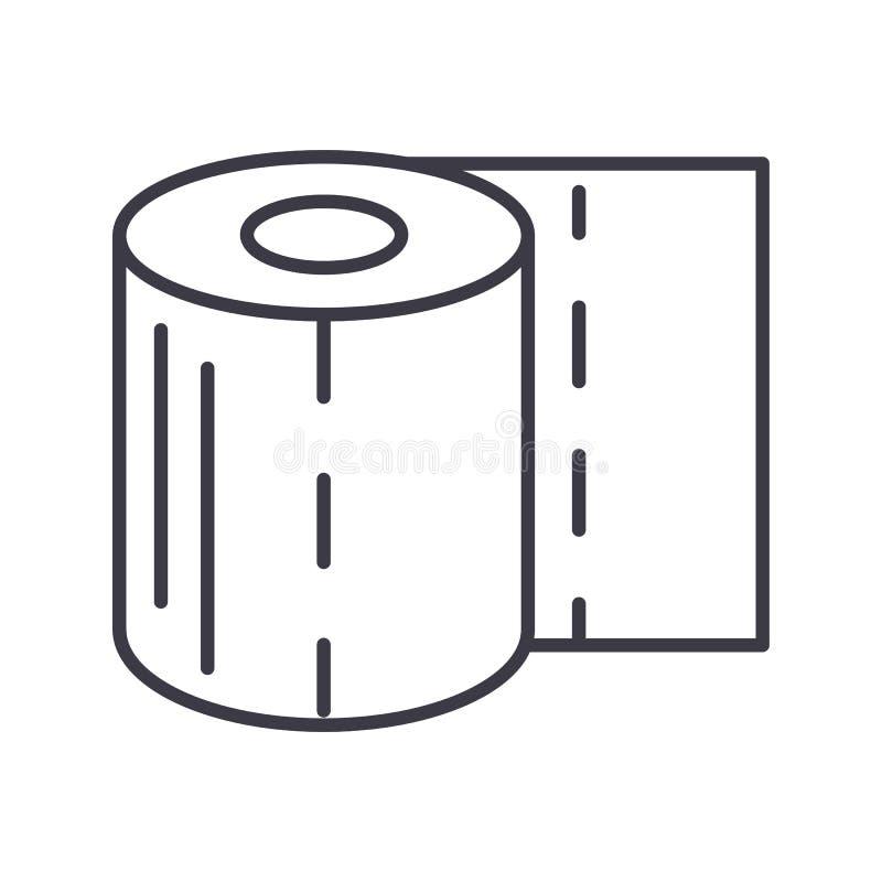 卫生纸传染媒介线象,标志,在背景,编辑可能的冲程的例证 库存例证