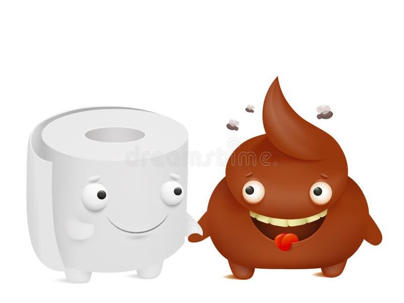 卫生纸和船尾动画片emoji字符最好的朋友 库存例证