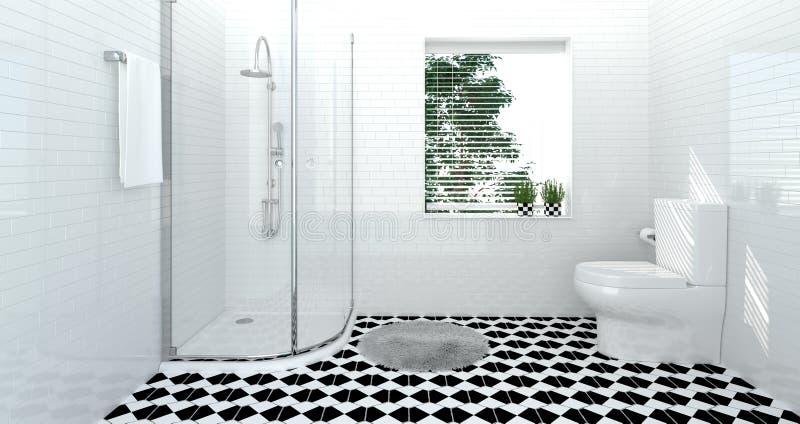 卫生间内部,洗手间,阵雨,拷贝空间背景白色瓦片卫生间的现代家庭设计3D例证 向量例证