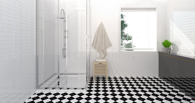 卫生间内部,洗手间,阵雨,现代家庭拷贝空间白色背景的设计干净的墙壁3D例证 免版税库存照片