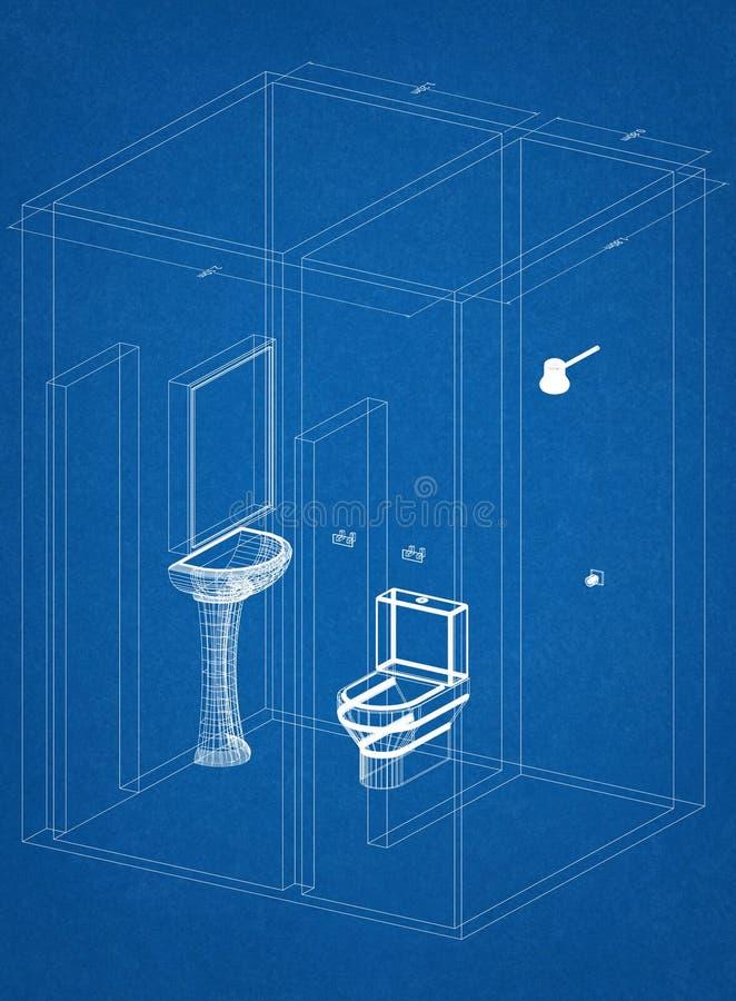 卫生间建筑师图纸 向量例证