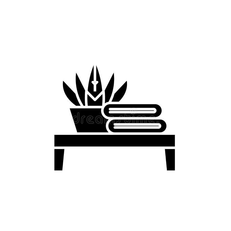 卫生间桌黑色象,在被隔绝的背景的传染媒介标志 卫生间桌概念标志,例证 库存例证