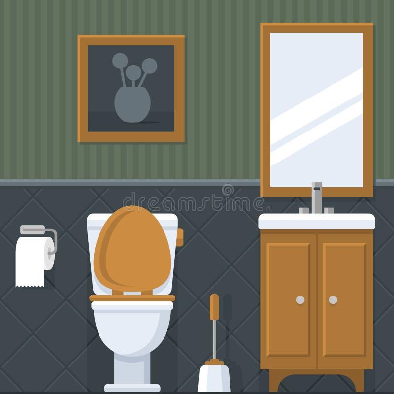 卫生间碗内部毛巾 在平的样式的洗手间 向量 皇族释放例证