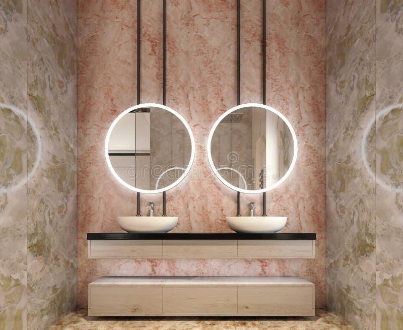 卫生间虚荣,所有墙壁现代室内设计由与圈子镜子的石平板制成 免版税库存图片