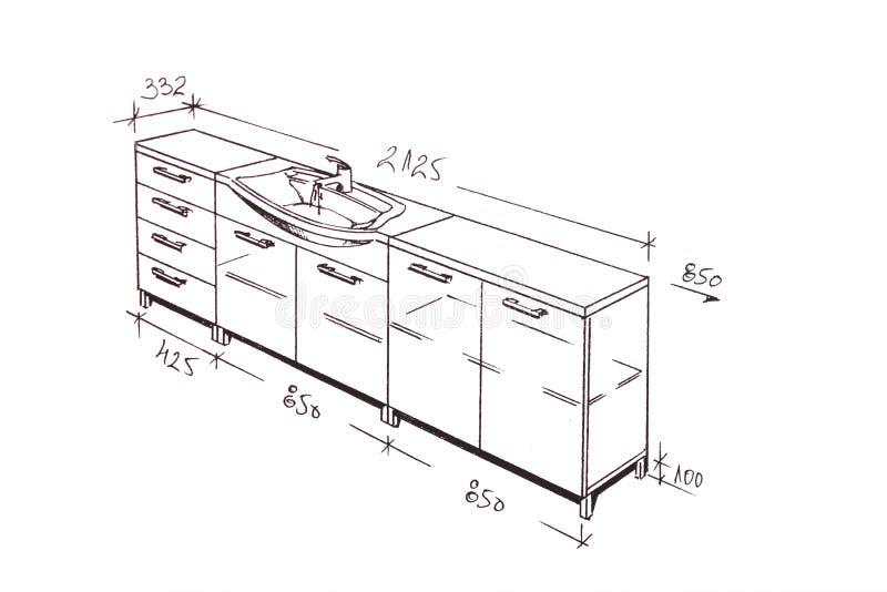 卫生间设计图内部徒手画现代 库存例证