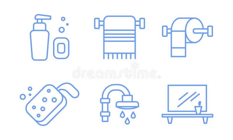 卫生间象设置,肥皂分配器,毛巾持有人,海绵,阵雨,镜子,并且架子线性标志导航例证  向量例证