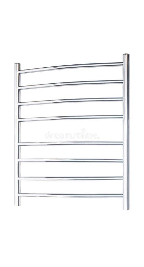 卫生间镀铬物在白色查出的毛巾架 库存照片