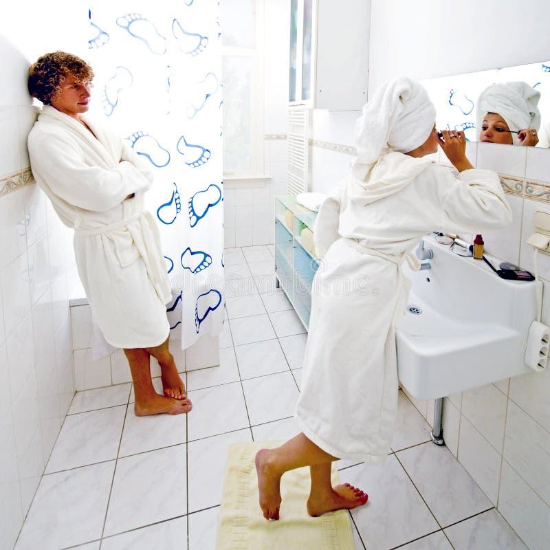卫生间队列 免版税图库摄影