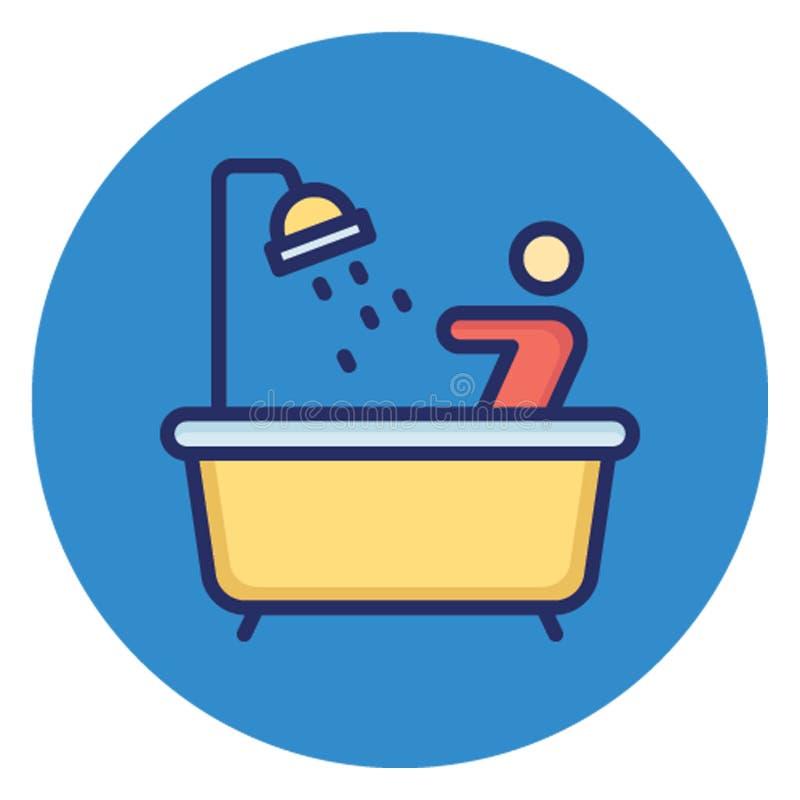 卫生间,浴缸可能容易地编辑的传染媒介象 库存例证