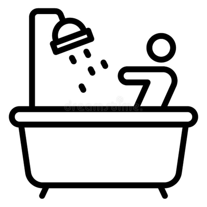 卫生间,浴缸可能容易地编辑的传染媒介象 向量例证