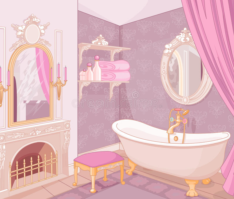 卫生间内部在宫殿 皇族释放例证