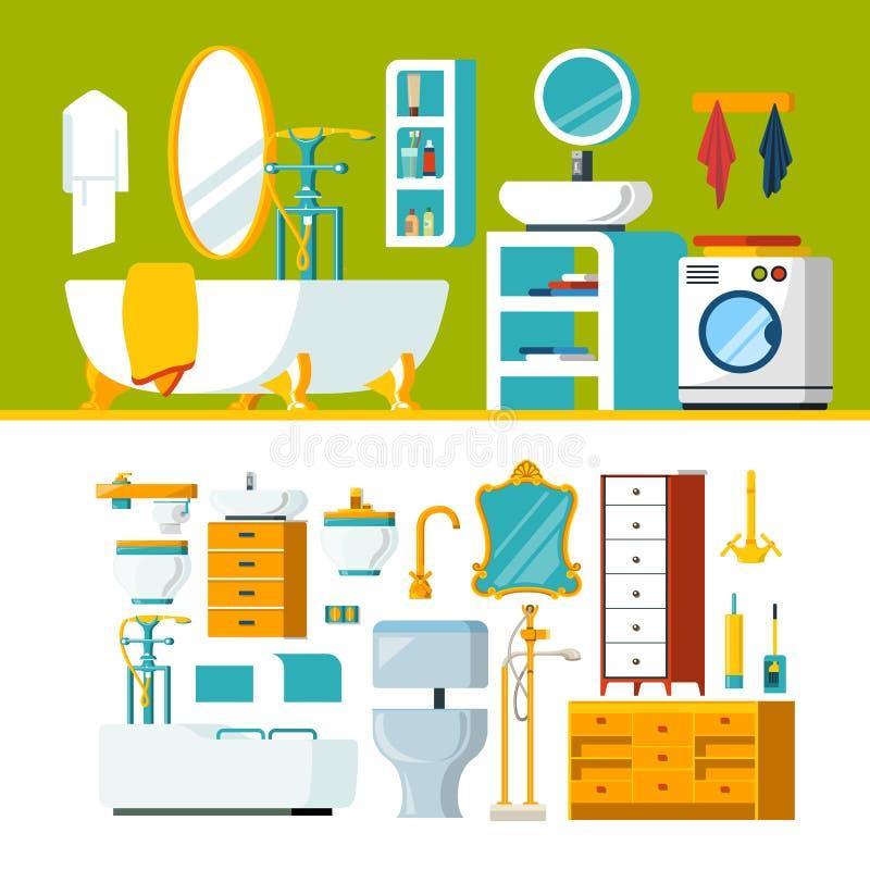卫生间内部对象建设者模板传染媒介象集合 向量例证