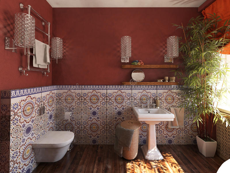 卫生间内部摩洛哥样式的 免版税库存照片
