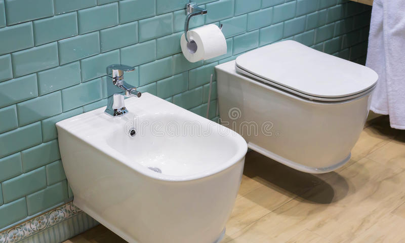 卫生间内部:洗手间和净身盆 免版税库存图片