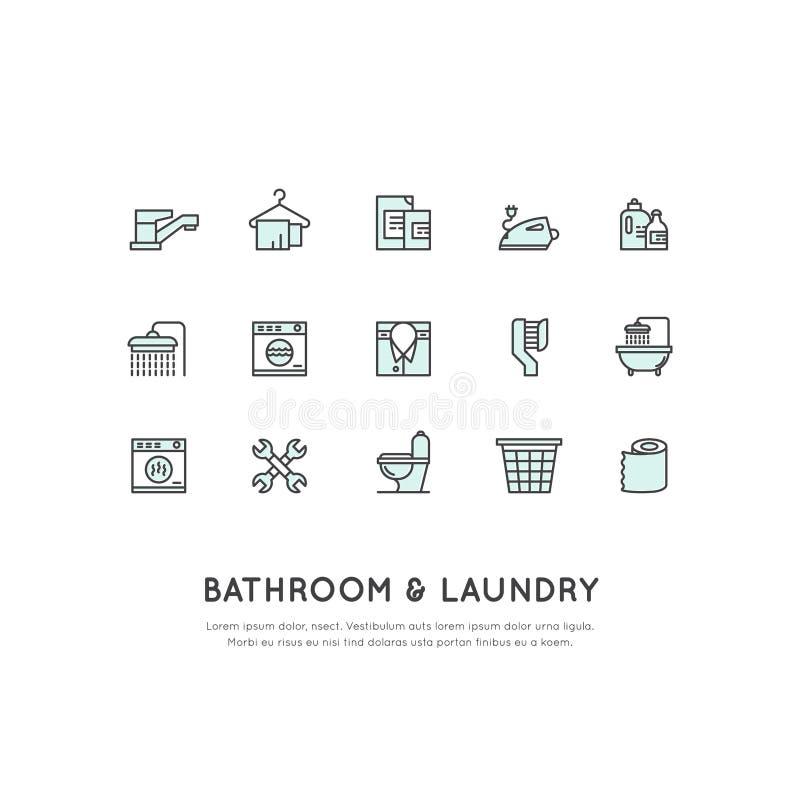 卫生间和洗衣店项目的概念 皇族释放例证