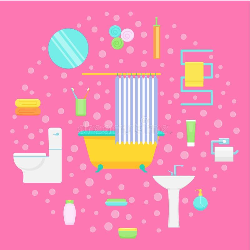 卫生间和浴辅助部件传染媒介例证 库存例证