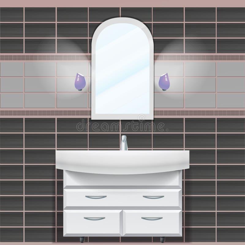 卫生间 有镜子和水槽的墙壁 库存图片
