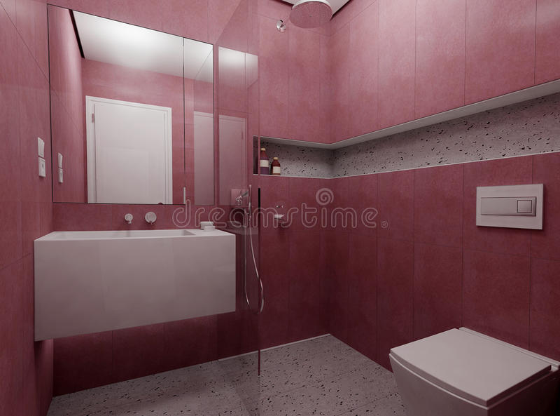 卫生间现代红色 库存照片