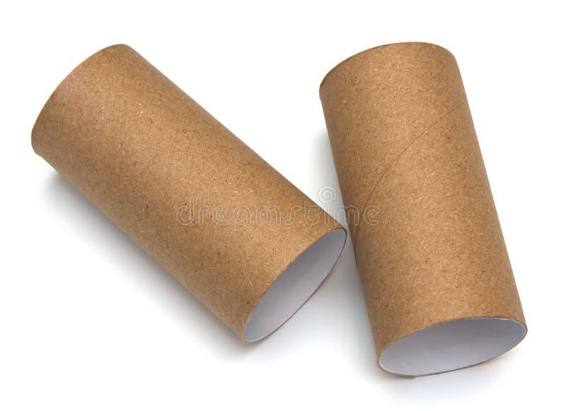 卫生间空的纸卷  免版税库存照片