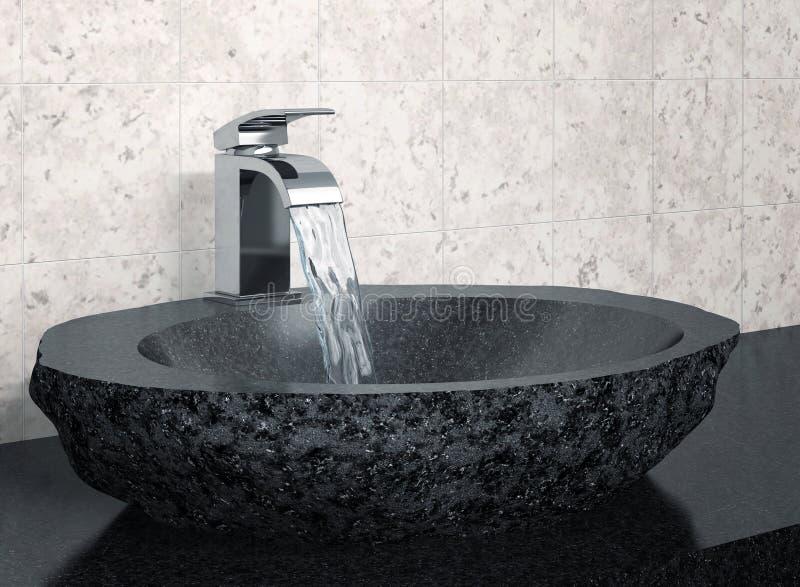 卫生间龙头和黑石水槽 库存例证