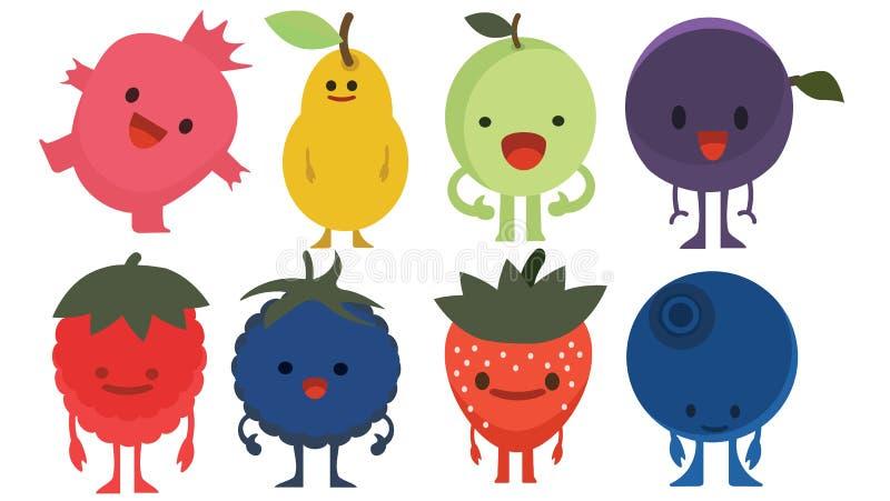 印刷品动画片乱画夏天彩色组柑桔平的妖怪莓果 向量例证