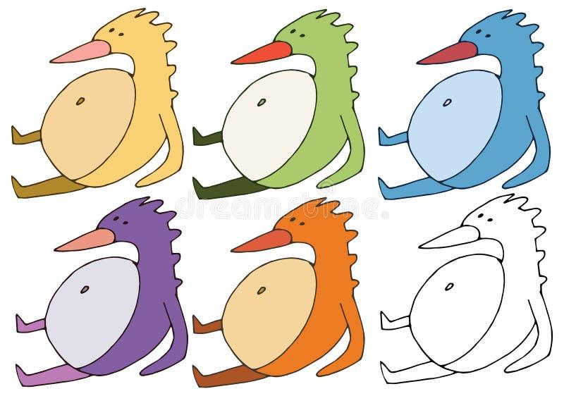 印刷品动画片乱画肥胖鸟彩色组妖怪手凹道 向量例证